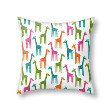 Multicolor Giraffes Pillow Cover, Colorful Giraffe Pattern Throw Pillow Case for Living Room and Home Decor