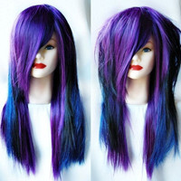Spring SALE - BLUEBERRY MUFFIN // Grape Purple and Blueberry Blue // Straight Long Layered Wig