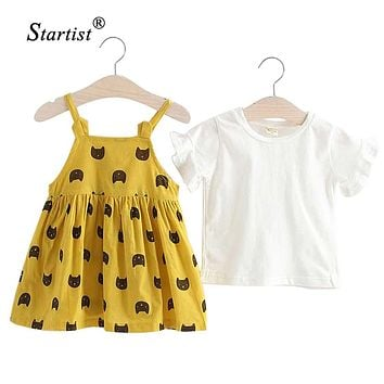 Startist Baby Girl Dress Spring Dress For Girls O Neck Cotton Vestido Infantil Cat Two Piece Baby Dress For Infants Clothes