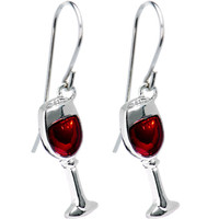 Stainless Steel Red Wine Glass Earrings | Body Candy Body Jewelry