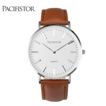 Mens Watches Top Luxury Ultra Slim Lovers' Quartz Watch Men Business Leather Band