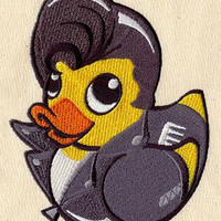 Embroidered Patch - Greaser Duckie / Rubber Ducky - sew or glue on 5x4""