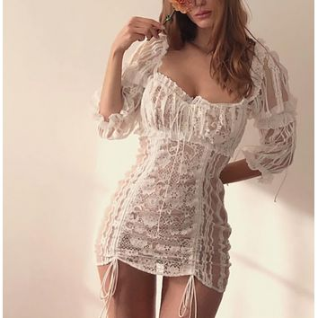 Lace stitching perspective sexy skirt square collar halter waist tie in the sleeves hip dress