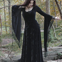 Sorrena Gothic Dress in Crushed Velvet with Dramatic Cuffs and Venise Lace - Custom Dark Romantic Gothic Clothing