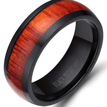 6mm/8mm Men's Women Not Fade Zirconium Black Titanium Ring with Mahogany Wood Inlay Comfort Fit Wedding Band