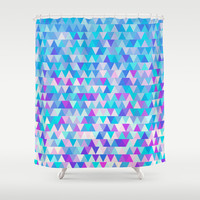 Blue Triangles Shower Curtain by Ornaart