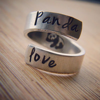 Panda love hand stamped aluminum spiral ring
