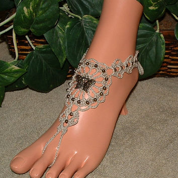 Butterfly Charm Barefoot Sandals, Anklet, Foot Jewelry, Footless, Beach Jewelry, Beach Sandal, Charms