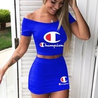 Champion New fashion letter print leisure shorts sleeve top and skirt two piece suit Blue