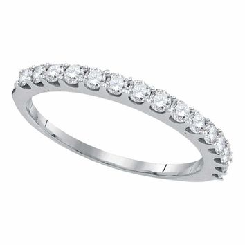 14kt White Gold Women's Round Pave-set Diamond Single Row Wedding Band 1-2 Cttw - FREE Shipping (US/CAN)