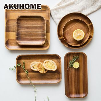 Acacia Wooden Tray Dinne Plates FREE SHIPPING!