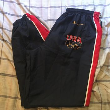 Vintage Champion USA Olympic Pants Men's XL Track Jogger Windbreaker Warm Up