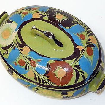 Tlaquepaque Mexico Pottery Casserole Dish Hand Painted Mid Century