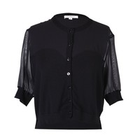 ModeWalk.com: Black Sheer-Opaque Cardigan by John Rocha