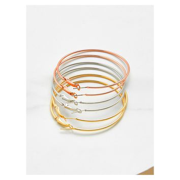 Rose Gold Silver and Gold Extra Large Hoop Earring Set