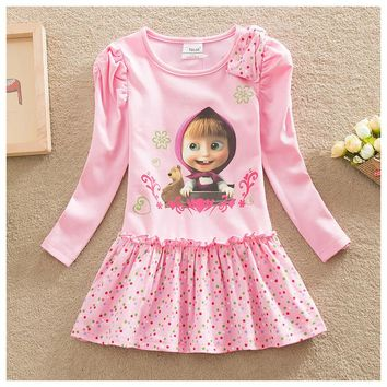 NEAT 2016 christmas Baby girl clothes lovely pink pattern cotton girl dress masha and bear characters kids dress for girl H5306