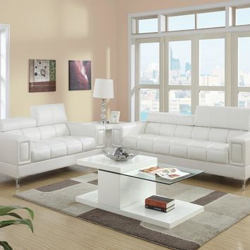 Bonded Leather 2 Piece Sofa Set With Foldable Headrests In White By Poundex