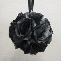 Flower Kissing Balls Wedding Centerpiece, 6-inch, Black