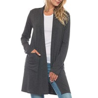 Gray Long Cardigan with Pockets