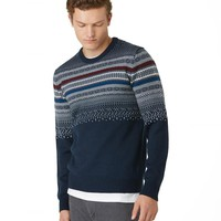Fair Isle Gradient Crewneck in Navy