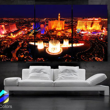 "LARGE 30""x 60"" 3 Panels Art Canvas Print Beautiful skyline view Las Vegas Nevada night Wall Home (Included framed 1.5"" depth)"