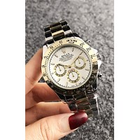 Rolex Classic Stylish Ladies Men Casual Business Sport Movement Couple Watch Silvery/Golden