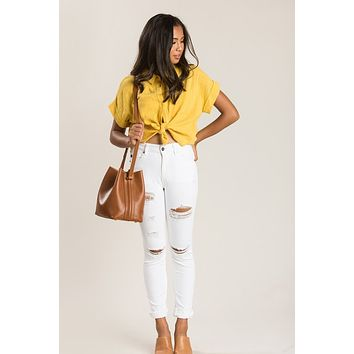 Anna Mustard Button Up Top