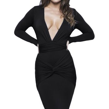 Black Slinky Knotted Long Sleeve Knee Length Dress