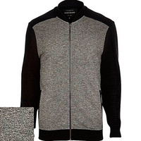 River Island MensBlack textured color block bomber jacket