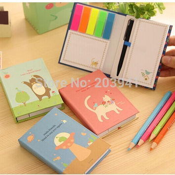 1pcs lot Cartoon animals bird cats Rainbow note Memo Hard cover sticky notes Post it stickers paper Stationery Office school