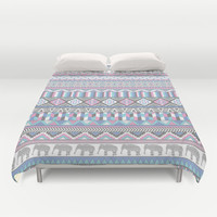 Tribal Geometric Elephant Pattern in pink, teal, and purple Duvet Cover by jennifer hong