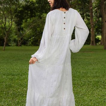 Boho Maxi Dress- Long Sleeve Bohemian Dress, Womens Plus Size Dress, Tiered White Dress, Layers Dress, Gypsy Maxi Dress, Maternity Dress