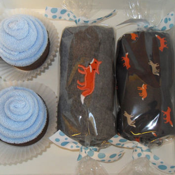 Baby Boy Shower Gift Washcloth Cupcakes Gift Box Fox Theme