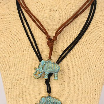 Ancient Leather Elephant Pendant Necklace