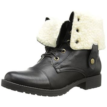 Penny Loves Kenny Womens Devon Fold-Over Faux Leather Lace-Up Boot