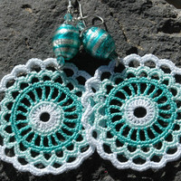 Crocheted  Earrings in Mint and White color.