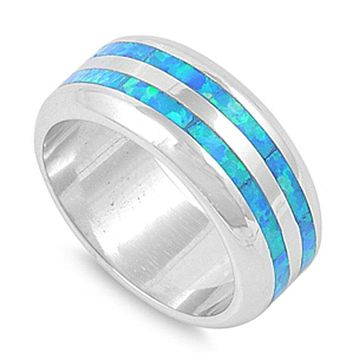 Blue Opal Smooth Inlay Wedding Band for Men