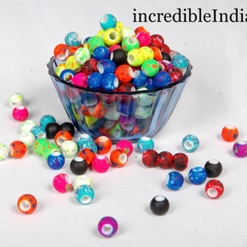 beautiful beads mat finishing flurosent color beads for multipurpose making of art & craft things round shaped 80 beads about 100 Grams.