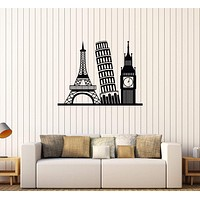 Vinyl Wall Decal Eurotrip Europe Travel Attractions Stickers Unique Gift (560ig)