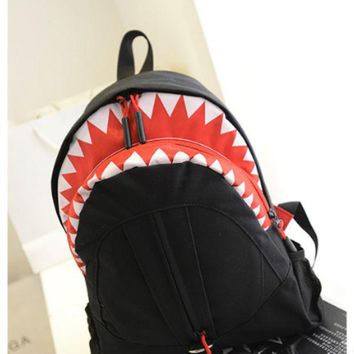 ca ICIKTM4 Personality shark mouth shoulder bag student backpack