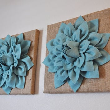 "TWO Wall Canvases -Dusty Blue Dahlia Flowers on Burlap 12 x12"" Canvas Wall Art- Rustic Home Decor-"