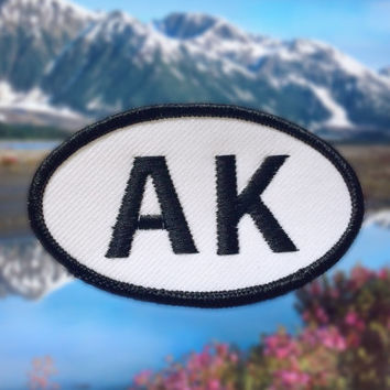 "Alaska AK Patch - Iron or Sew On - 2"" x 3.5"" - Embroidered Oval Appliqué - Last Frontier State - Black White Hat Bag Accessory Handmade USA"