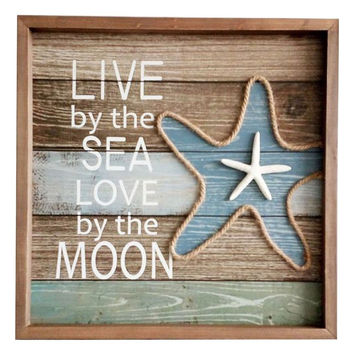 Live By The Sea Love By The Moon with Starfish Coastal Framed Wood Sign 16-in