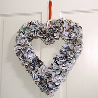 Romantic travels Valentine paper flowers wreath | UnusuallyYours - Housewares on ArtFire