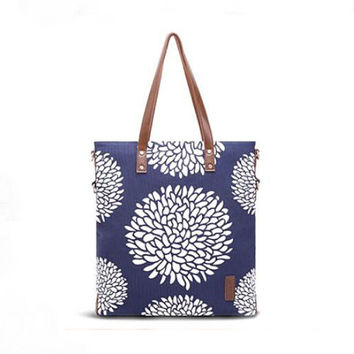SimpleWind-Women's Large Capacity Floral Simple Casual High Quality Cotton Shoulder Bag-Chrysanthemum/Sunlflower/Tulip