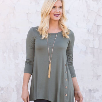 Far From Here Tunic Top - Olive