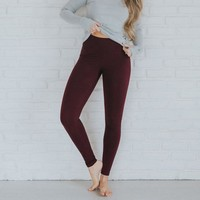 High-Waisted Wine Leggings