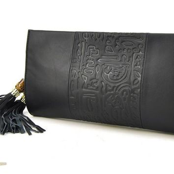 Women Genuine Leather Fringe Tassel Clutch Handbag Shoulder Bag Purse
