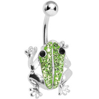 Peridot Green Crystal Frog Belly Ring MADE WITH SWAROVSKI ELEMENTS | Body Candy Body Jewelry