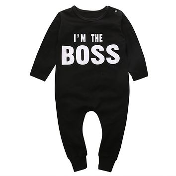 Fashion Baby Boy Girl Long Sleeve Letter Black Romper Funny Jumpsuit Cotton Newborn Clothes Outfits